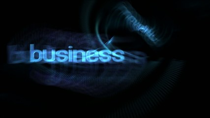 Flying business oriented words on animated background
