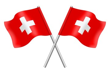 Two flags art the colors of Switzerland
