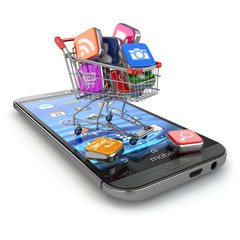 Store of mobile software. Smartphone apps icons in shopping cart
