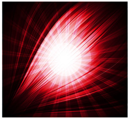 Abstract red background Beautiful rays of light