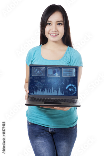 Woman showing business chart 1