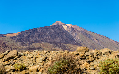 Purple Teide volcano from the road of Ucanca valley