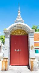 red arch door in temple