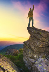 Climber on mountain peak. Sport and active  life concept