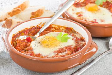 Huevos a la Flamenca (Flamenco Eggs) - Eggs in tomato sauce
