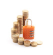 Financial security. Golden coins with orange padlock.