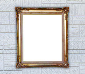 golden frame on modern wall