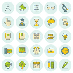 School and education vector icons set. For web site design