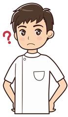 疑問を持つ白衣を着た男性