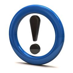 Exclamation sign in blue ring