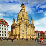 Fototapety Church Frauenkirche in Dresden Germany on a sunny day with blue