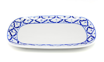 blue and white plate pineapple pattern traditional style of Thai