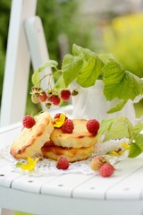 small cheesecakes with raspberry in the country