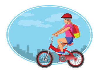 girl goes to school whit bycicle