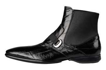 Black leather male boots