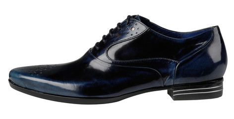 Blue leather male shoes