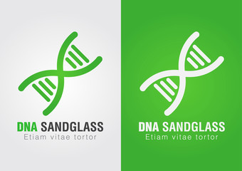 DNA Sandglass combination sign symbol. Creative Design.