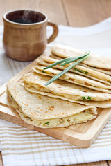 Flatbread with mashed potato and spring onion