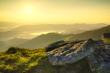 Rocks during sunrise. Beautiful summer landscape