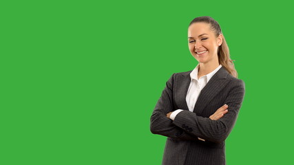 Young beautiful business woman showing copy space and crosses