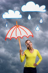 Happy smiling young woman with umbrella