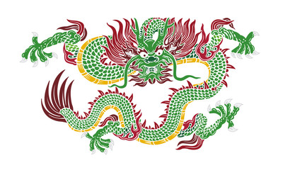 green chinese dragon vector