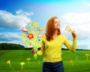 Happy smiling young woman on cartoon background