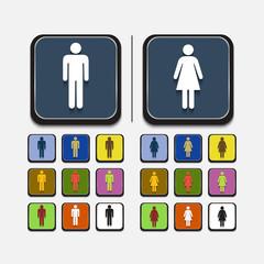 Stylish colored icons, man,woman