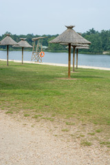 parasols at lake side