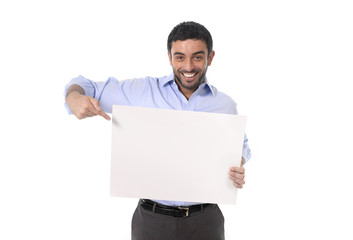 happy young business man holding blank billboard