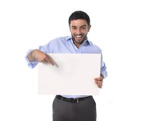 happy business man holding blank billboard as copyspace