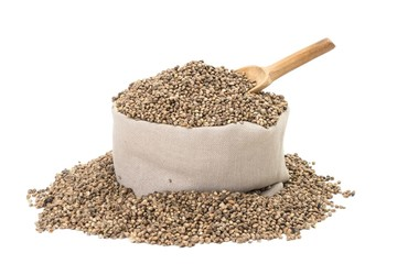 Hemp seeds in a bag with wood spoon on white background