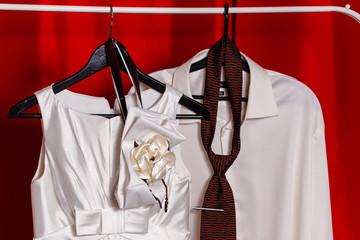 Wedding dress and groom shirt