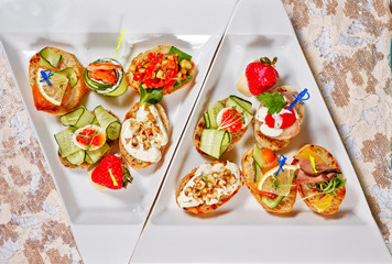 Restaurant food canapes appetizers