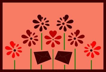 Blumen Brief Karte abstrakt