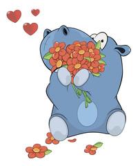 Little hippopotamus and flowers . Cartoon
