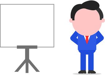Businessman Hands Behind Back Beside Chart