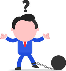 Confused Businessman Chained to Ball