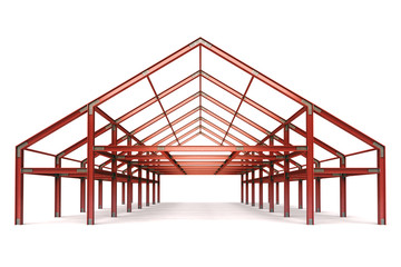 red steel framework wide building front perspective view