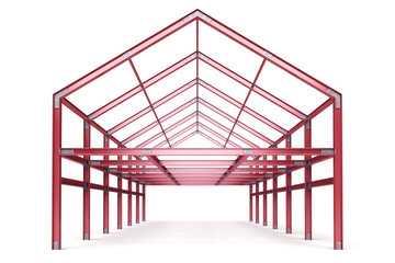 red steel framework building front perspective view