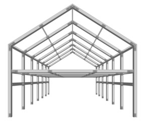 steel frame building project scheme isolated on white vector