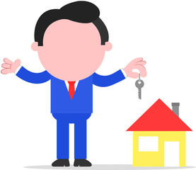 Businessman or Realtor Holding Key to House