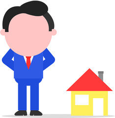 Businessman or Realtor Beside House
