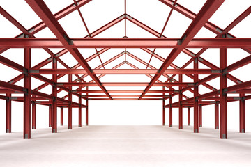 isolated red steel framework building interior perspective view