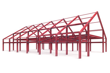 red steel framework wide building angle perspective view