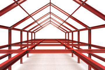 red steel framework building indoor perspective view