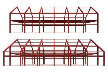 red steel framework building side perspective view rendering