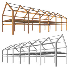 steel and wooden building scheme isolated on white vector