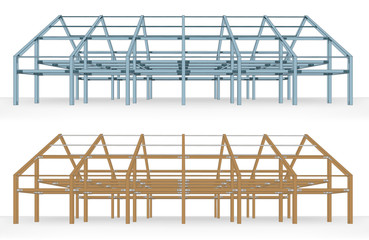 steel and wooden beam building scheme isolated vector