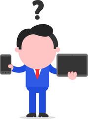 Businessman Between Smartphone and Tablet